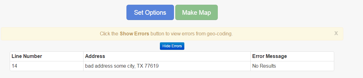 View errors from geocoding
